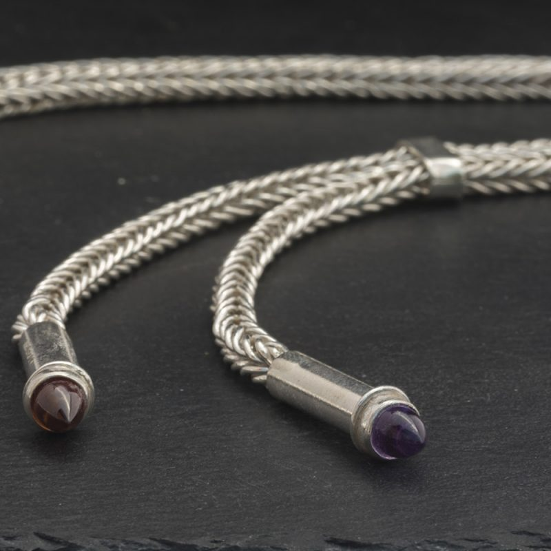 Bolo tie set with garnet and amethyst