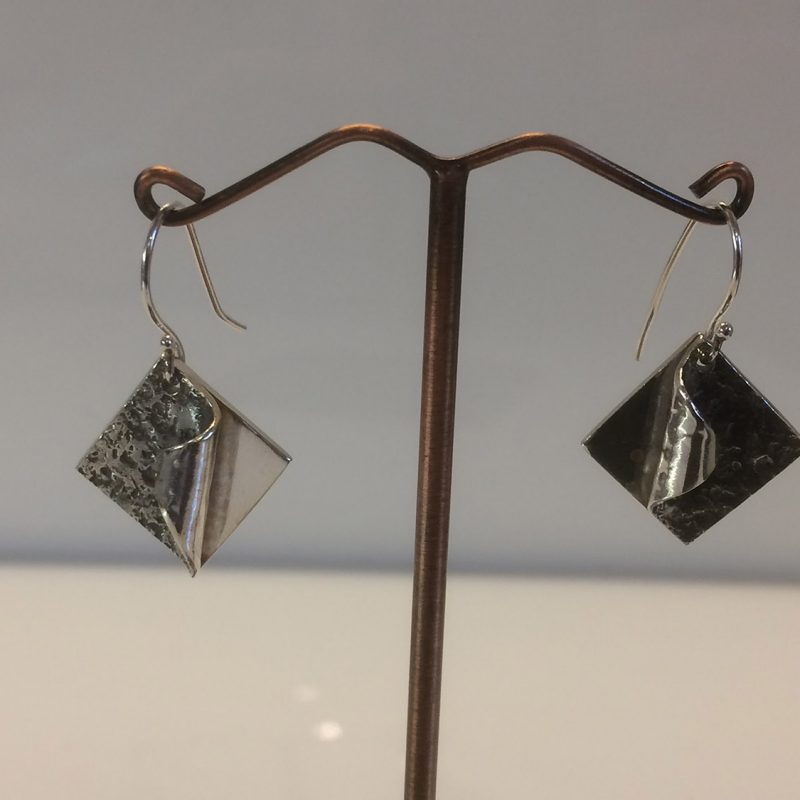 Silver square curl earrings