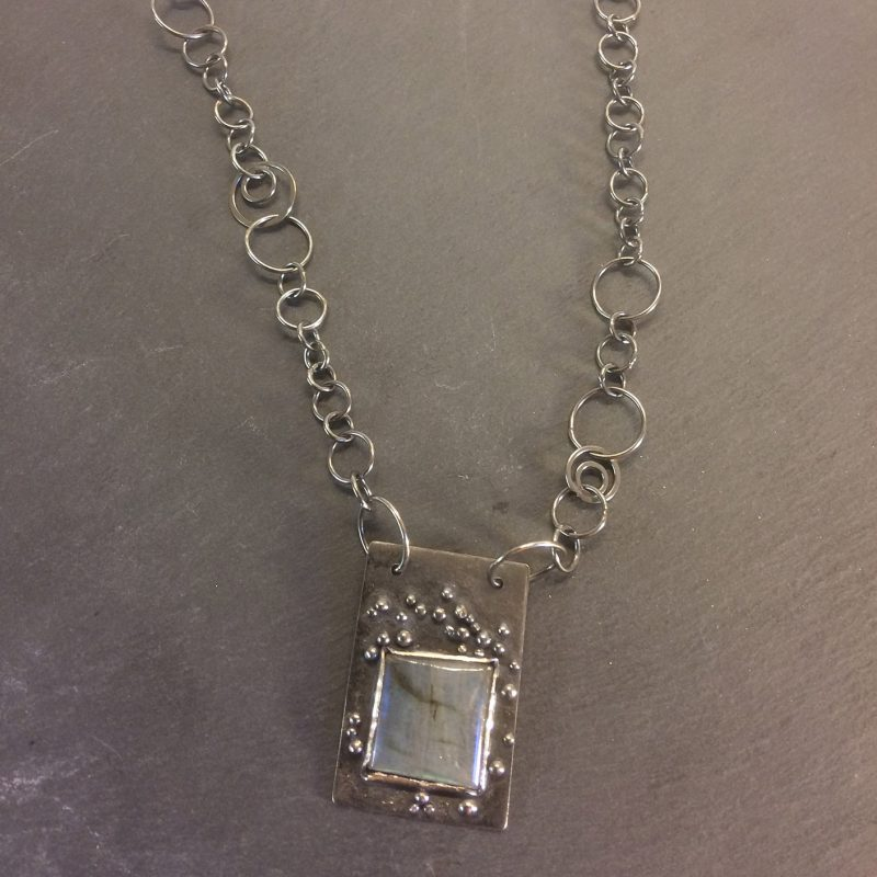 Labradorite oxidised pendant and handmade chain